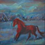 Cheval rouge sur fond bleu