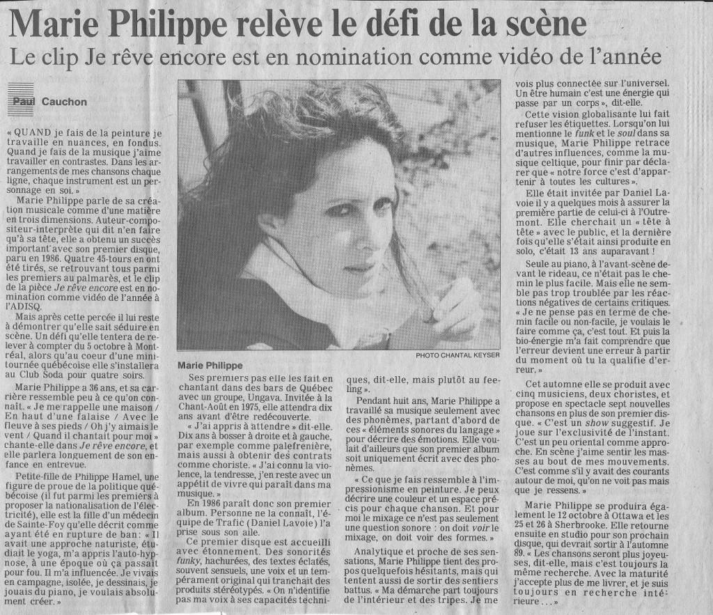 Marie Philippe coupure de presse