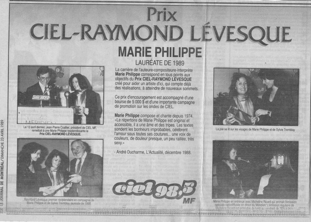 Marie Philippe Prix Ciel-Raymond Lévesque