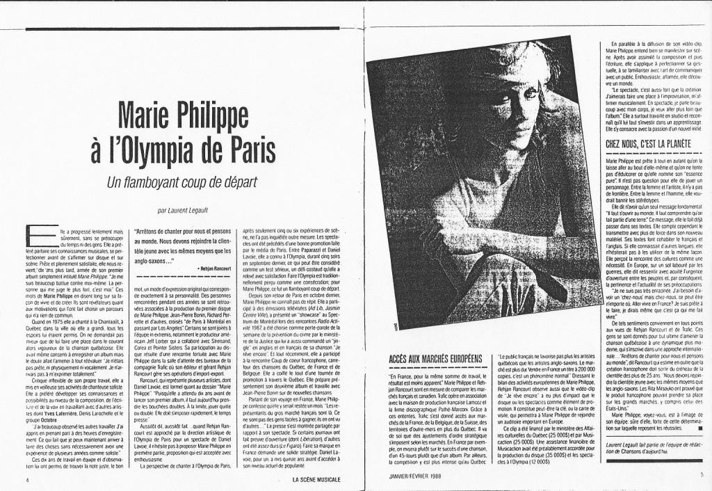 Marie Philippe coupure de presse Olympia de Paris