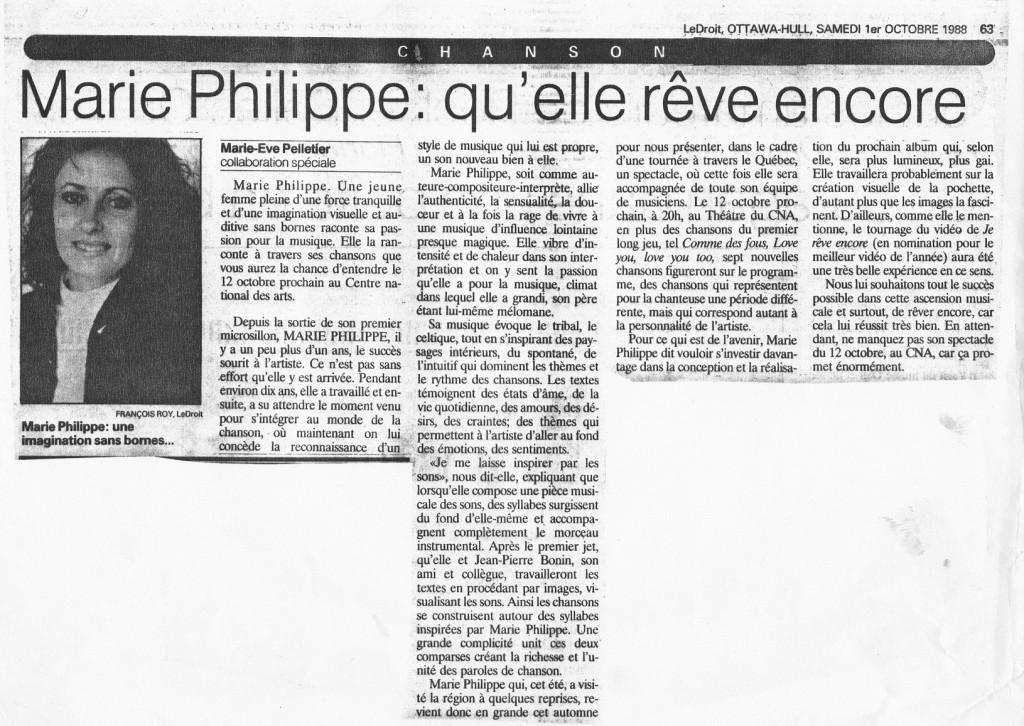 Marie Philippe coupure de presse Le Droit